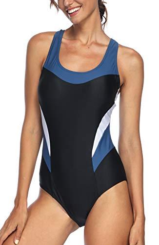 Avacoo Damen Badeanzug Figurformend Schwimmanzug Mit Performance-Schnitt Racer-Back Sport Bademode, Schwarz+weiß, 42 / XL