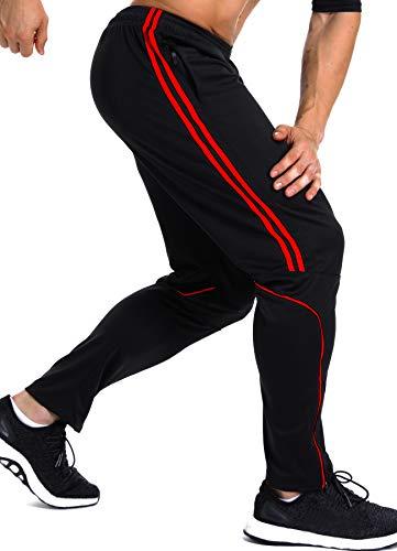INSTINNCT Herren Lange Trainingshose Sport Jogging Hose Sweatpants mit Reißverschlusstasche Streifen (Rot) L