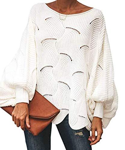 ZIYYOOHY Damen Pullover Oversize V Ausschnitt Lose Pulli Strickpullover Outwear (S, Weiß)