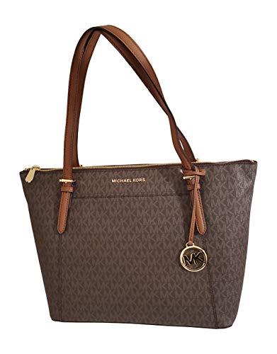 Michael Kors Women's Ciara Large Top Zip PVC Leather Tote Shoulder Bag Brown