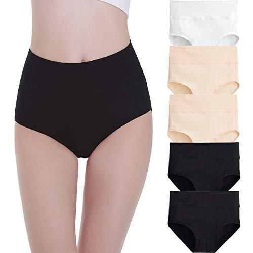 FALARY Unterhosen Damen Unterwäsche Baumwolle 5er Pack Slip Hohe Taille Unterhose Taillenslip XL Schwarz Hautfarben Weiß