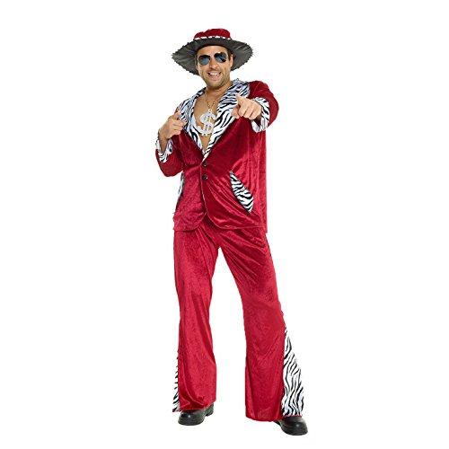 Morph Herren Burgund Zuhälter Kostüm Samtanzug für Junggesellenabschied Party Kostüm - L (107-112 cm Brustumfang)