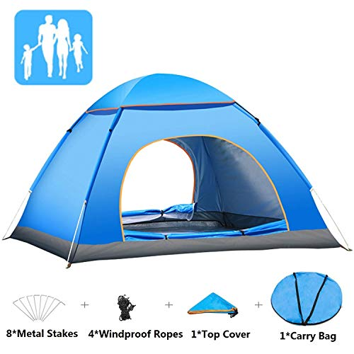Yuanj Pop up Zelt, 3-4 Personen Ultraleichte Camping Zelt Wasserdicht Pop up Zelt, Outdoor/Beach Wurfzelt mit Tragetasche für Trekking, Camping