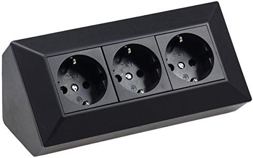 ChiliTec 3-Fach Aufbau Steckdose 230V 45° Winkel Eck Aufputz-Steckdose für Küche Arbeitsplatte Werkstatt Schwarz