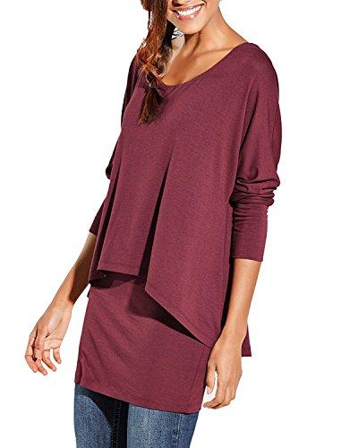 Uniquestyle Damen 2 in 1 Optik Langarmshirt Casual Tunkia Langarm Große Größen Longshirt Asymmetrisch Oberteil Top Shirt Winerot XL