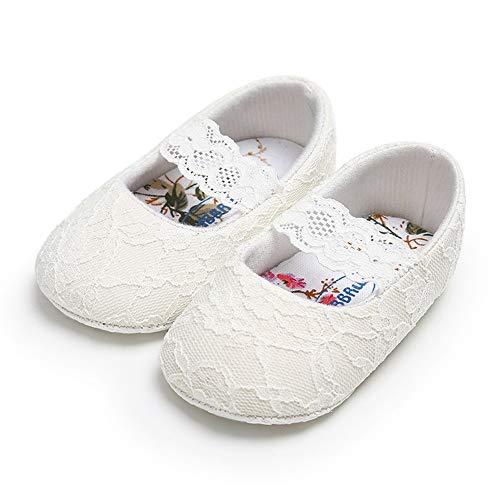 LACOFIA Baby Mädchen Prinzessin Taufschuhe Kleinkind rutschfest Weiche Sohle Krabbelschuhe Weiß 12-18 Monate