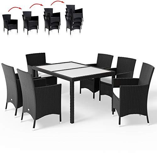 Deuba Poly Rattan Sitzgruppe 6 Stapelbare Stühle Gartentisch 7cm Dicke Sitzauflagen Gartenmöbel Sitzgarnitur Set Schwarz
