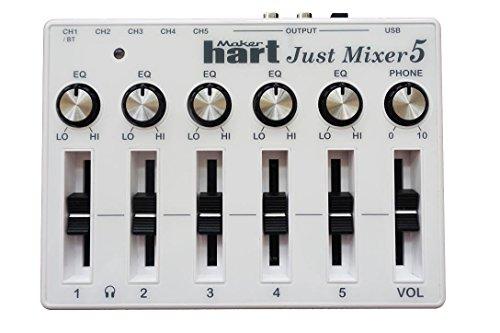 JUST MIXER 5 mit Bluetooth – Kompakter, USB-betriebener Stereo Desktop-Mixer Mischpult mit 5 Ein- (3,5mm / Bluetooth auf CH1) und 3 Ausgängen (3,5mm / RCA/USB)