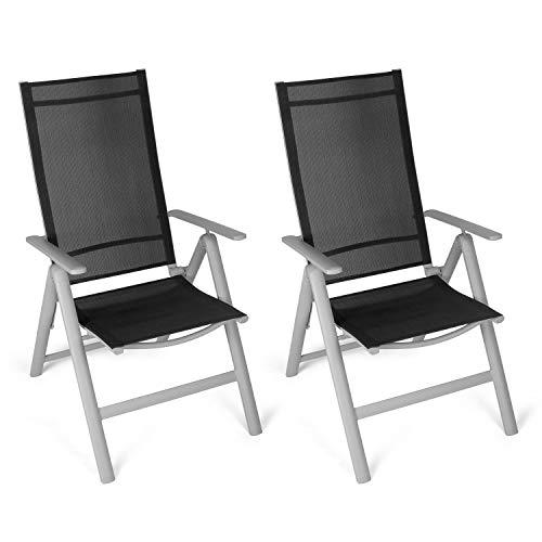 Vanage Alu Gartenstuhl in schwarz - Klappstuhl im 2er Set - Hochlehner - Klappsessel - Gartenmöbel - Stuhl für Garten, Terrasse und Balkon geeignet