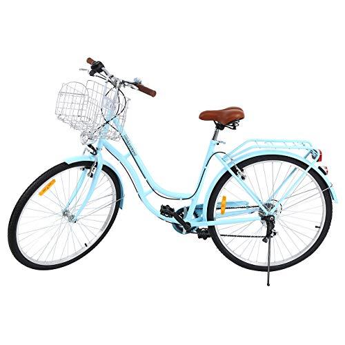 Ridgeyard 28 Zoll 7 Stadtrad Damen Männlich Fahrrad Damenfahrrad Outdoor Sportstadt Urban Fahrrad Shopper Fahrrad Licht + Korb + Glocke + batteriebetriebe (Blau)