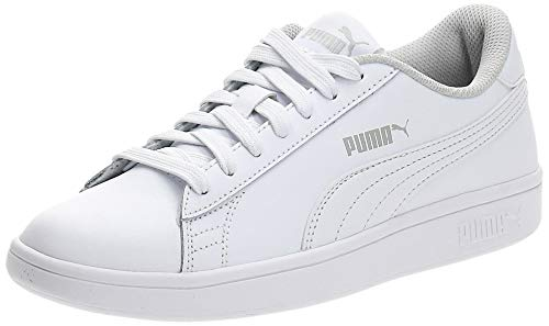 PUMA Unisex Kinder Smash v2 L Jr Sneaker, Weiß White White, 38 EU