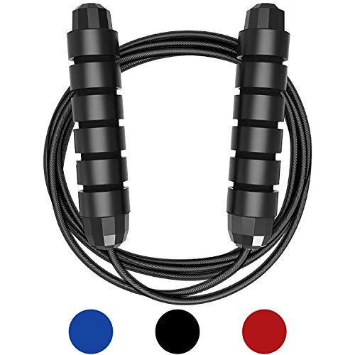 Huttoly Springseil Sport, Jump Rope Kinder 3.0M Speed Rope Seilspringen Fitness Für Fitness, Ausdauer & Abnehmen (schwarz) (A)