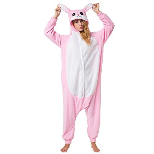 Katara 1744 -Hase Kostüm-Anzug Onesie/Jumpsuit Einteiler Body für Erwachsene Damen Herren als Pyjama oder Schlafanzug Unisex - viele verschiedene Tiere