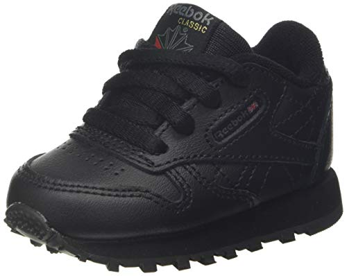 Reebok Unisex Baby Classic Leather Gymnastics Shoe, Black, 26 EU