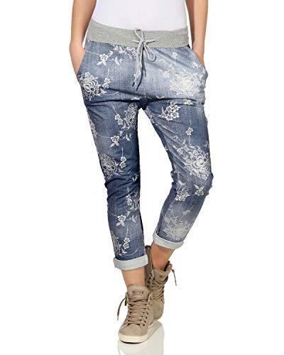 ZARMEXX Damen Sweatpants Baggy Boyfriend Sommerhose Sport All-Over Print One Size Muster 9 One Size (40-44)