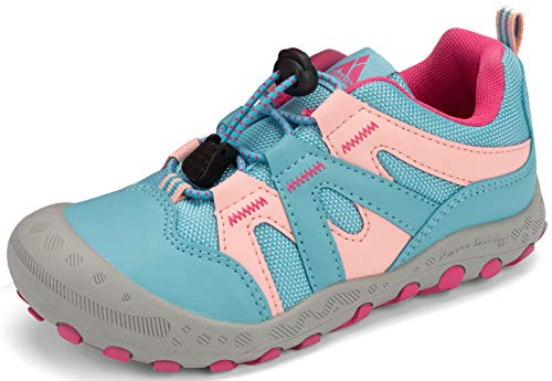 Trekkingschuhe für Kinder Wanderschuhe Jungen Mädchen Mit Schnellverschluss Atmungsaktive Schuhe rutschfest Laufschuhe für Outdoor,Rosa,32 EU