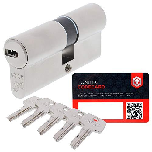 ABUS Türzylinder Schließzylinder Zylinder EC550 inkl. 5 Schlüssel inkl. ToniTec CodeCard Größe 30/30mm