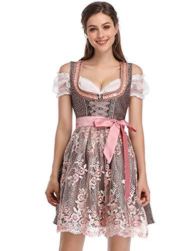 Clearlove Dirndl 3 tlg.Damen Midi Trachtenkleid für Oktoberfest- Spitzen Kleid, Bluse & Schürze, Rosa Spitzen-upgrade, 36