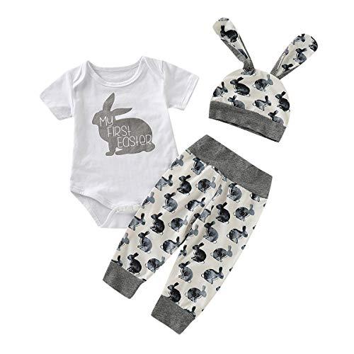 Kobay Ostern Baby Kleidung Set, Neugeborenes Baby Mädchen Jungen Cartoon Erste Ostern 3D Bunny Outfits Romper + Bunny Pants + Bunny Hut Set(80,Grau)