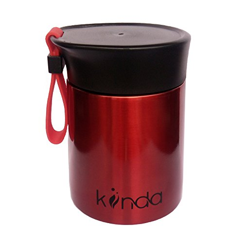 kiinda Thermobehälter Warmhaltebox 350ml BPA Frei | Edelstahl Isolierbehälter für warme Speisen, Babynahrung, Suppe - rot