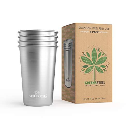 Greens Steel Edelstahl Tasse 16 Unzen/ 473ml (4er Pack) Premium Stapelbare Becher Metall Drink Gläser Tassen