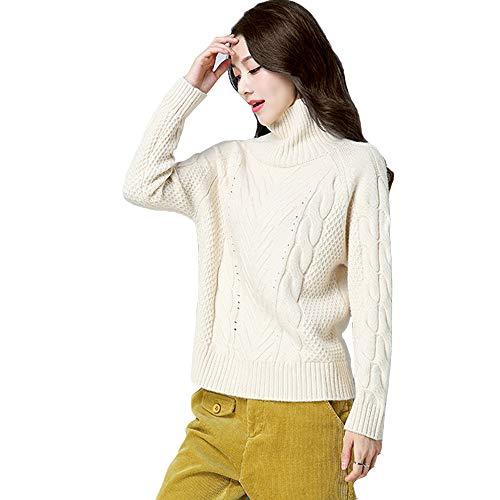 QJKai Herbst und Winter Pullover Frauen Stehkragen lose warme Pullover Winter Dickes Hemd grundiert