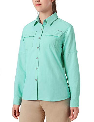 NAVISKIN Damen Bluse UPF 50+ Sonnenschutz Langarmbluse Outdoor Ultraleicht Wanderhemd schnelltrocknend Langarmshirt Hellgrün Größe S