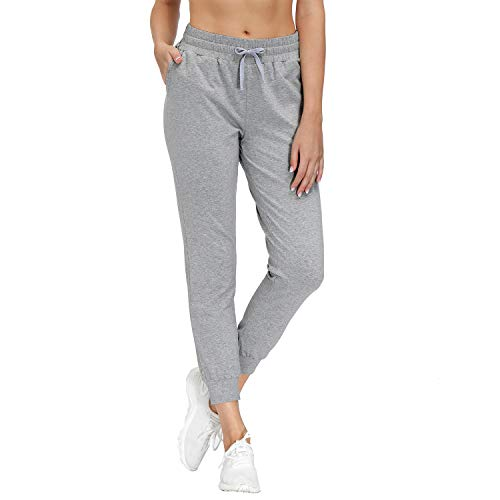 HMIYA Damen Jogginghose Baumwolle Trainingshose Freizeithose mit Taschen - Super Weich und Bequem (Grau M)