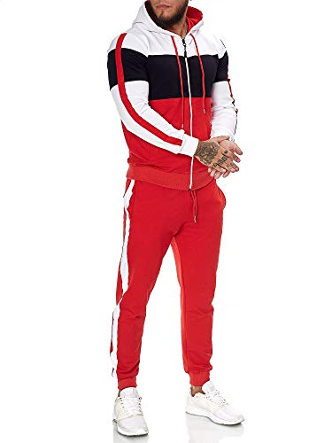OneRedox | Herren Trainingsanzug | Jogginganzug | Sportanzug | Jogging Anzug | Hoodie-Sporthose | Jogging-Anzug | Trainings-Anzug | Jogging-Hose | Modell JG-1082 Weiss-Schwarz-Rot S