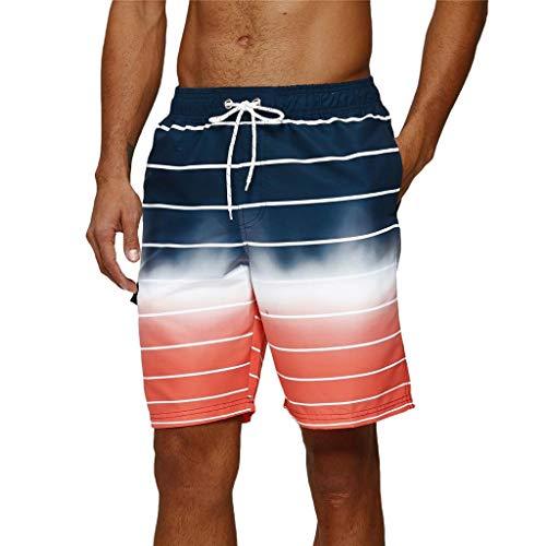 Arcweg Badehose für Herren Lang Mehr Taschen Badeshorts Männer Wasserabweisend Boardshorts Schnelltrocknend Jungen Beachshorts Bermudas mit Tunnelzug Rote Streifen 2XL(EU)-MarkeGröße 3XL