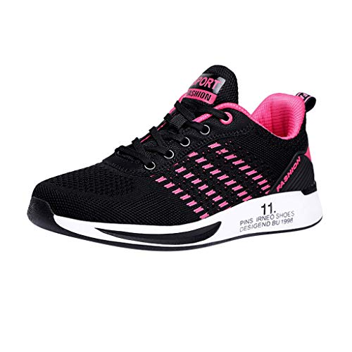 Deloito Damen Sneaker Leichte Modische Turnschuhe Fliegendes Weben Socken Sport Schuhe Schüler Freizeit Atmungsaktiv Laufschuhe (40 EU, Pink-07)