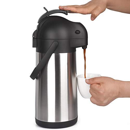2.2 Litre Pumpkanne, Edelstahl Thermoskanne und Pumpthermoskanne mit 12 Stunden Wärmespeicherung - Druckknopf Thermosflasche, Isolierflasche und Thermo Flasche - 2.2L Airpot