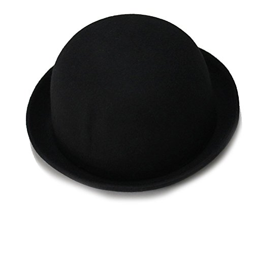 Fenical Frauen Wollfilz Mädchen Rollup-Krempe Wolle Dome Hut Bowler Winter Fedora Cap Cloche Cap(Black)