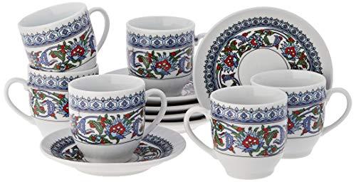 12tlg. Orientalisches Mokkatassen Set Espressotasse Untersetzer Mokkaservice Topkapi Design