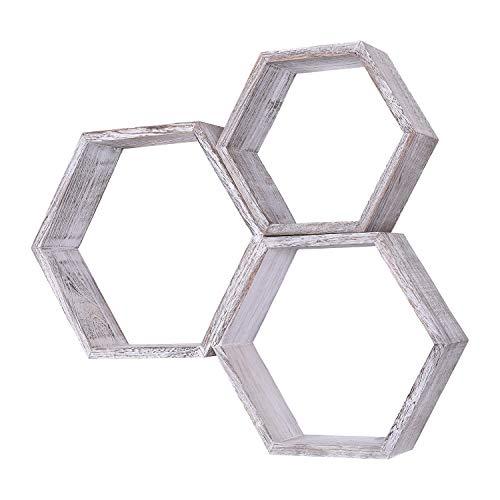 Comfify Rustikales Schweberegal Hexagon - 3er-Set - Groß, Mittel und Klein - Schrauben und Dübel inklusive - Landhausregale für Schlafzimmer, Wohnzimmer und mehr - Wabenwanddekorationen - Weiß