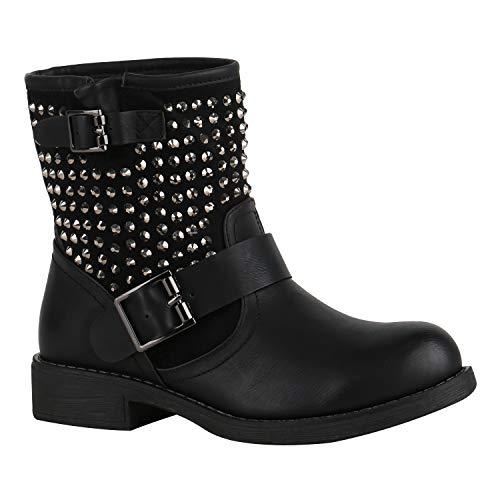 Damen Biker Boots Stiefeletten Stiefel Schnallen Leicht Gefüttert Schuhe 150363 Schwarz Nieten Nieten 37 Flandell