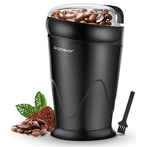 Aigostar Kaffeemühle Elektrische Gewürzmühle Kaffeebohnen Nüsse Gewürze Getreide Mühle mit Edelstahlmesser, 150W Schlagmahlwerk, 60g Bohnenbehälter Schwarz