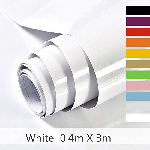 Hode Selbstklebende Folie Dekorfolie Klebefolie für Möbel Küche Oberflächenschutz Wasserdicht Vinyl Hochglanz Mit Glitzerpartikel Effekt Weiß 40cmX300cm
