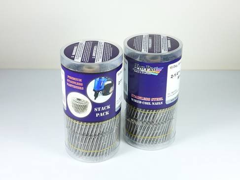 NailPro 1-1/4 Inch by 0.093 - 15 Degree Wire Coil - Stainless Steel - Ring Shank Siding Nail 1500 pc. Stack Pack by Nail Pro