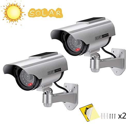 AlfaView Kamera Dummy Solarbetriebene Überwachungskamera Attrappe Fake Kamera Attrappe Dummy Kamera Attrappe Dummy Innen Außen Fake Überwachung Haus Sicherheit Security (2 x Pack)