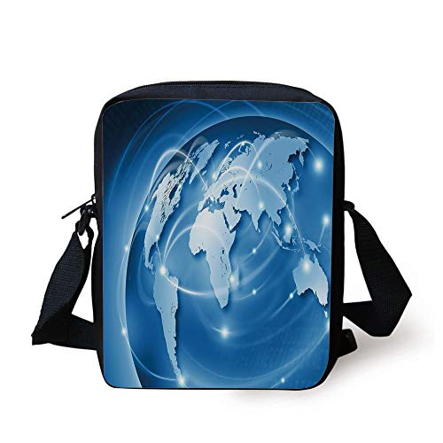 World,Connected World Concept Business Commerce Network Corporation Information Decorative,Blue Light Blue White Print Kids Crossbody Messenger Bag Purse