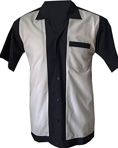 Rockabilly Fashions Herren Beiläufig Hemd zugeknöpft der 1950er Jahre 1960er Jahre Bowling Retro Vintages Hemd der Männer - XX-Groß, Grau; Weiß
