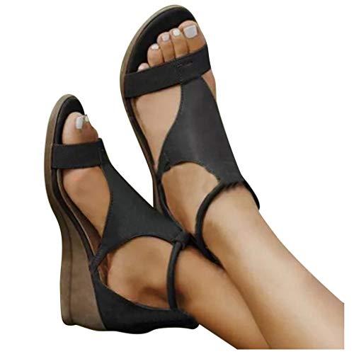 Dasongff Frauen Bequeme Plattform Sandale Sommer Offene Schuhe Faux Leder Wedge Heel Flatform Open Toe Ledersandalen Mit Römische Schuhe Fesselriemen Schnalle Sandaletten Casual Freizeit