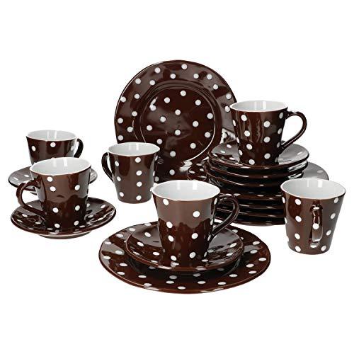 Mercant Glas 18-TLG. Kaffeeservice Braun-Weiß gepunktet | 6 Pers. | Kaffeetassen + Untertassen + Kuchenteller | edles Steingut | Gastro-Geschirr