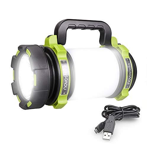 Novostella LED Handscheinwerfer 1000LM, 4000mAh CREE Powerbank Campinglampe Wiederaufladbar per USB Suchscheinwerfer Wasserdicht Dimmbar Taschenlampe mit 3 Leuchtmodi 4 Helligkeit für Camping Notfall