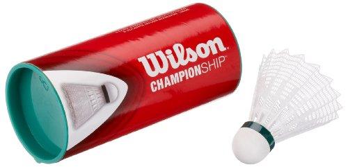 Wilson Badminton Nylon Federbälle mit Korkkopf Championship 3er Dose 77 (slow) whi, weiss