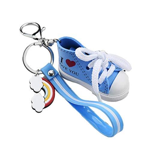Netter ICH Liebe Dich Mini-Leinwand-Schuhe Schlüsselanhänger Gestreifte Leder-Seil-Turnschuhe Keyring Paar-Geschenk-Beutel-Anhänger Drucken