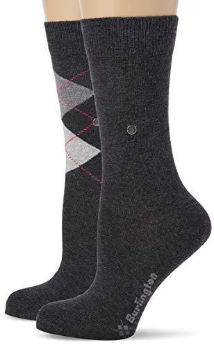 BURLINGTON Damen Socken Everyday - Baumwollmischung, 2 Paar, Grau (Anthracite Melange 3081), Größe: 36-41