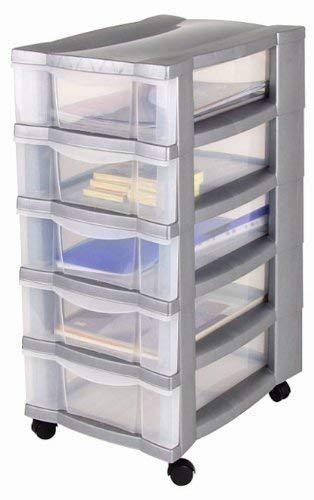 Rollcontainer, Schubladenschrank, Bürocontainer, Rollwagen, Werkzeugschrank, Schubladenwagen - mit 5 transparenten Schubladen und 4 Leichtlaufrollen zum einfachen Bewegen