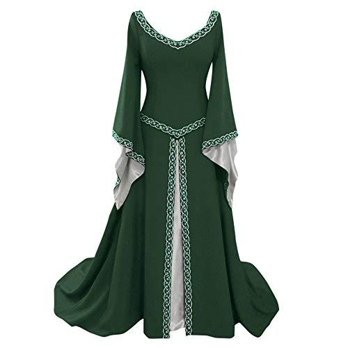 iHENGH Damen Frühling Sommer Rock Bequem Lässig Mode Kleider Frauen Röcke Langarm V-Ausschnitt Mittelalterlich Kleid Bodenlang Cosplay Kleid(Grün, XL)
